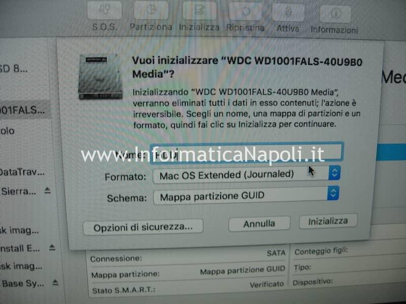 formattare inizializzare HDD iMac MacBook Mac Book
