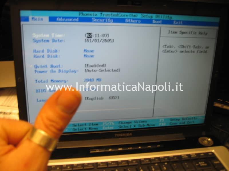come riparare toshiba A200 richiesta password avvio