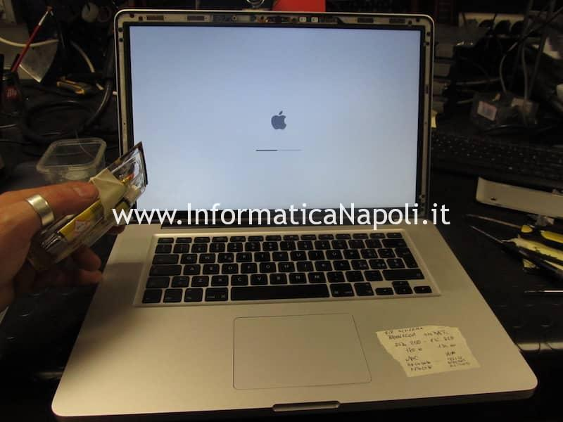 prima prova test accensione rigenerazione display e cerniere macbook pro