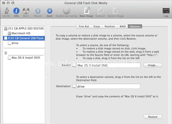installare USB snow leopard