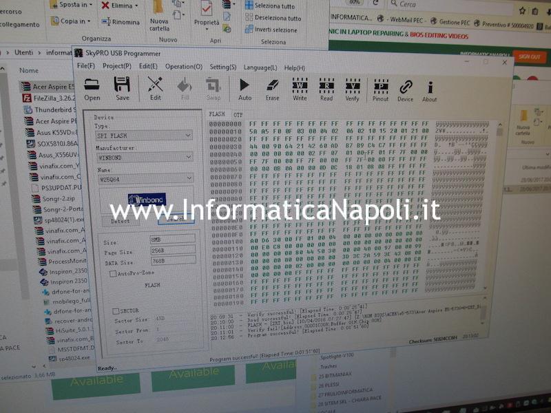 programmare sostituire BIOS W25Q64 per Acer Aspire E5 573 575 774