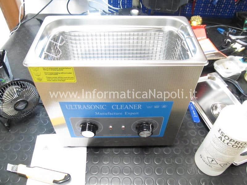 vasca ultrasuoni pulizia scheda logica macbook