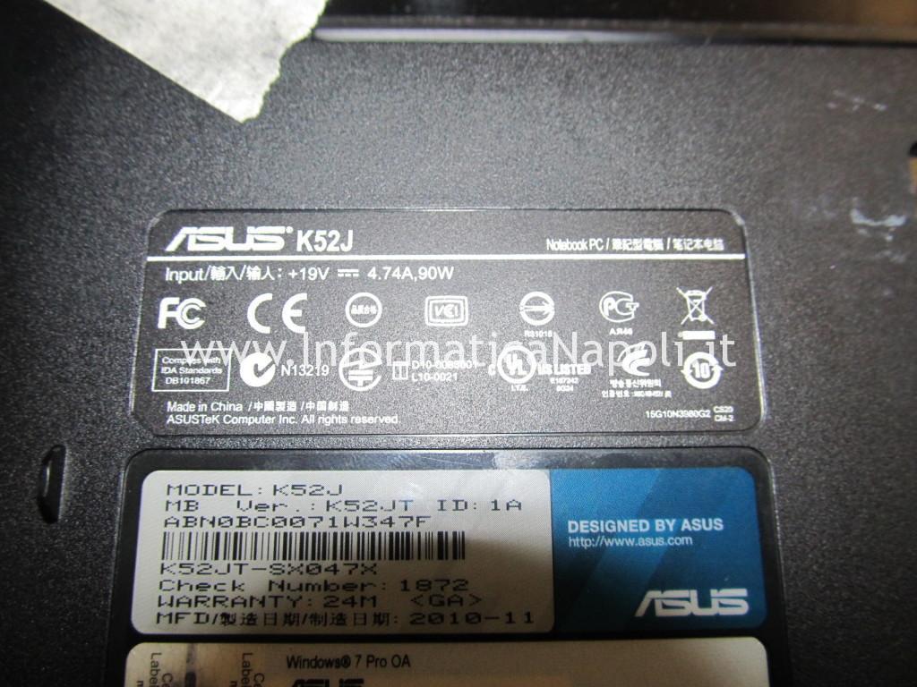 problemi artefizi video Asus K52JT
