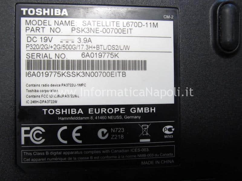 problema avvio accensione Toshiba L670D-11M PSK3NE-00700EIT