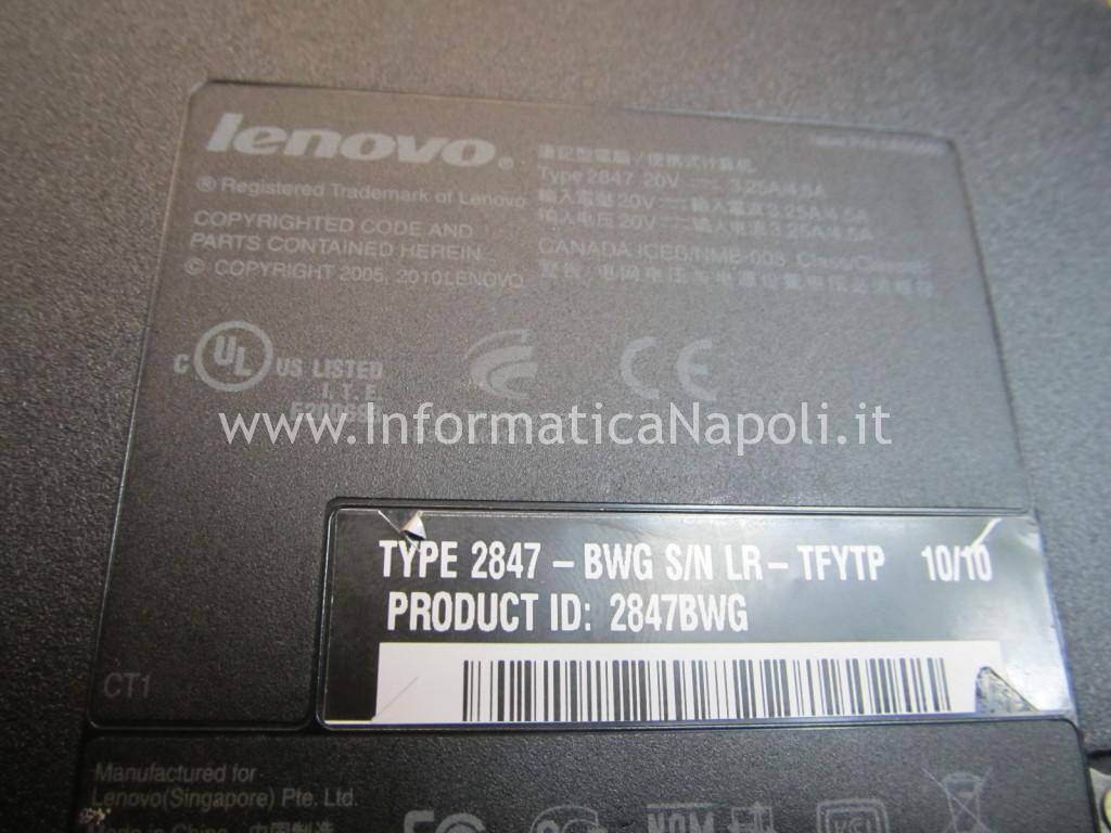 come riparare lenovo thinkpad SL510 type 2847 MB DAGC3AMB8IO