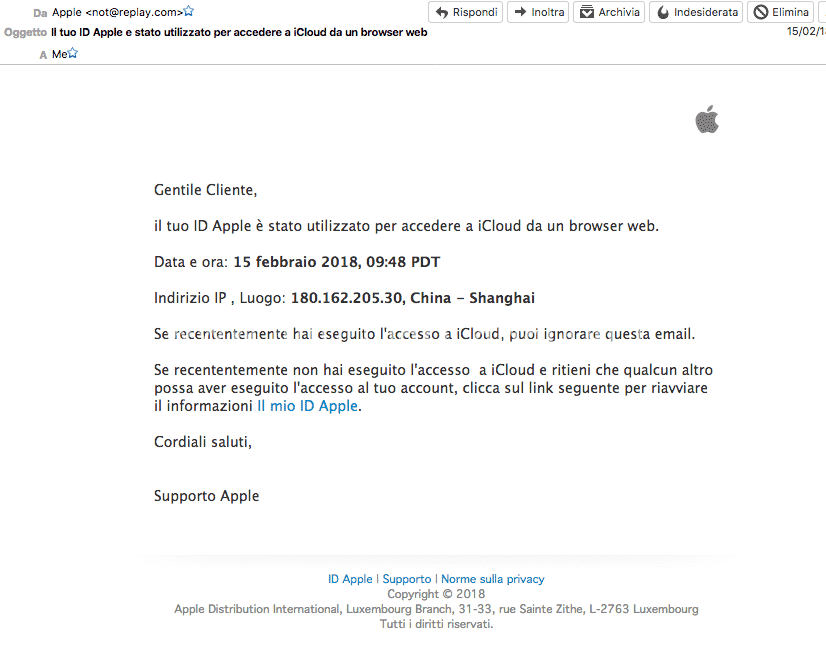 Mail fittizia phishing apple icloud blocco account macbook