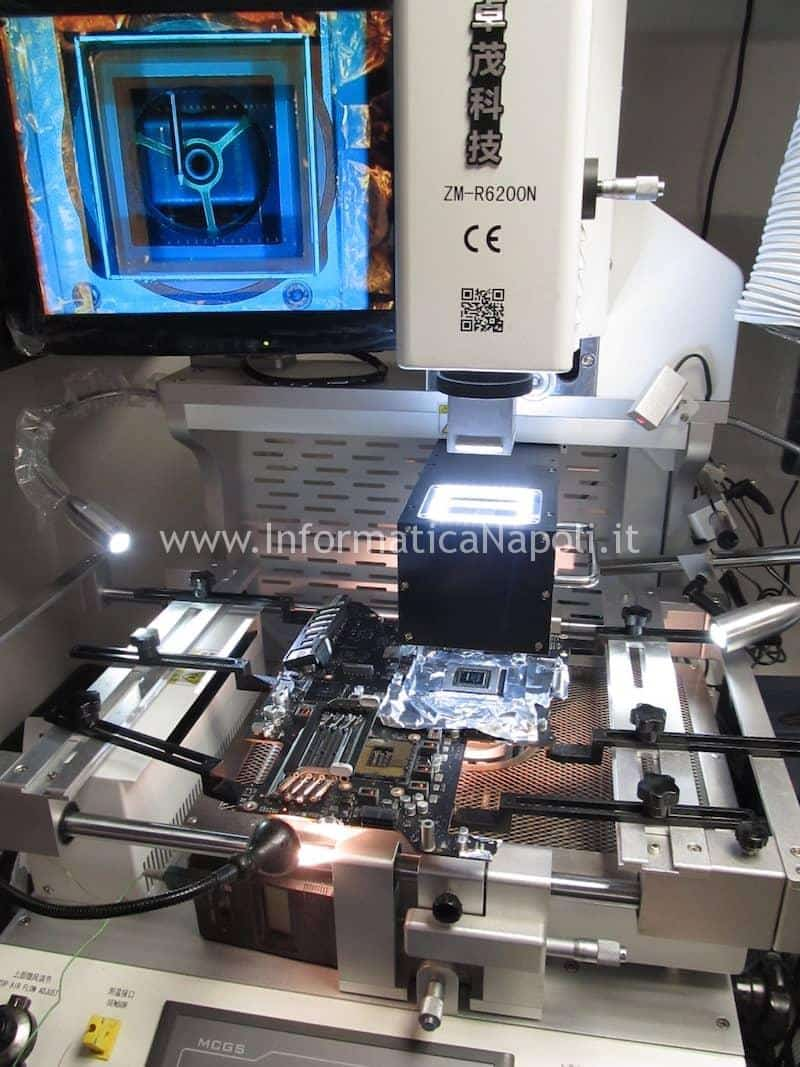 Posizionare scheda logica reballing nVidia N13E-GTX-W-A2 680MX iMac A1419 27 pollici late 2012