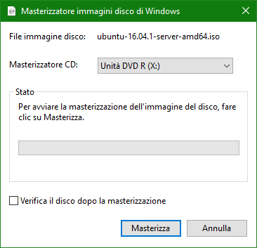 masterizzare .iso con windows