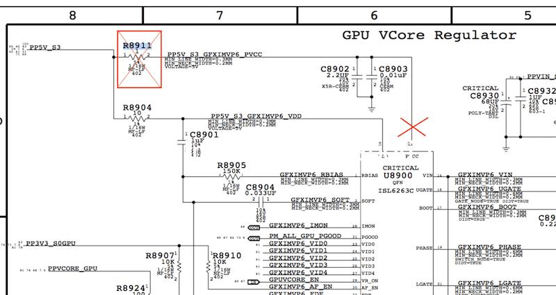 schema elettrico disattivare GPU AMD Discreta macbook pro 15 mb 820-2915