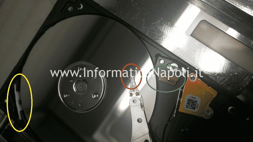 recupero dati hard disk danno da caduta sibilo rumore testine