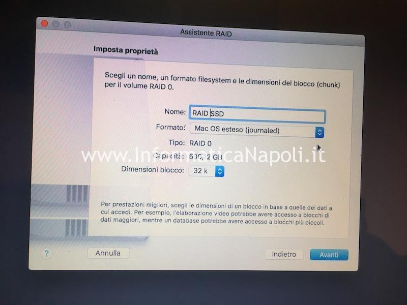 assistenza apple raid 0 doppio disco macbook