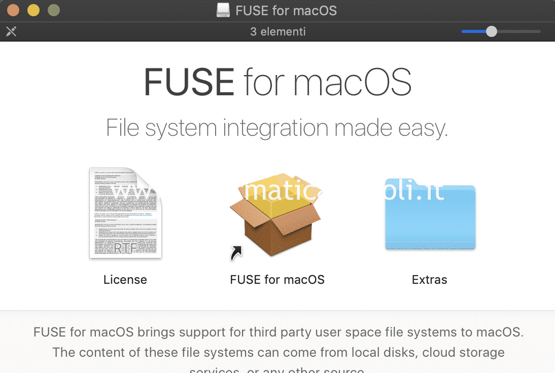 installare osx fuse for macos NTFS