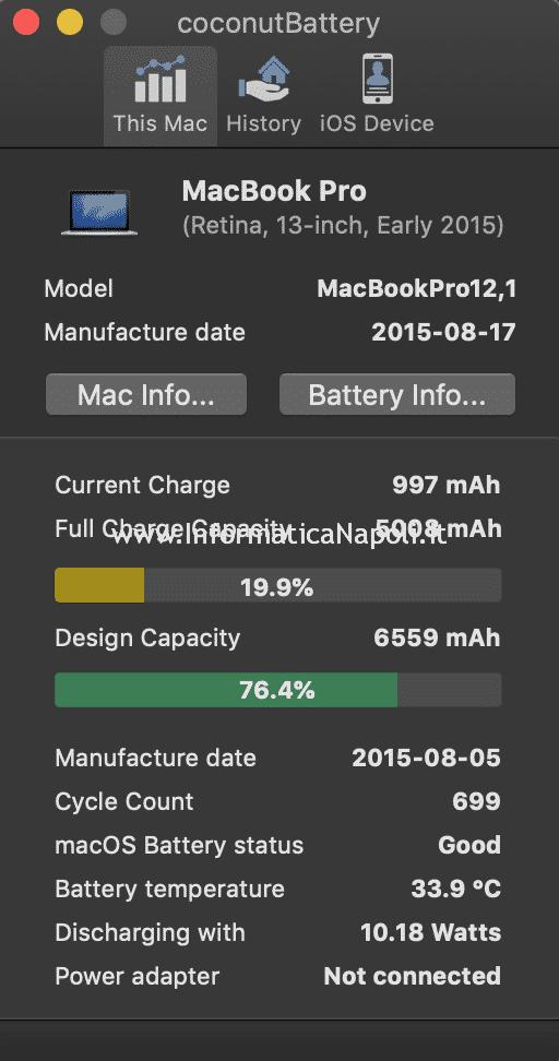 controllare stato batteria macbook numero cicli