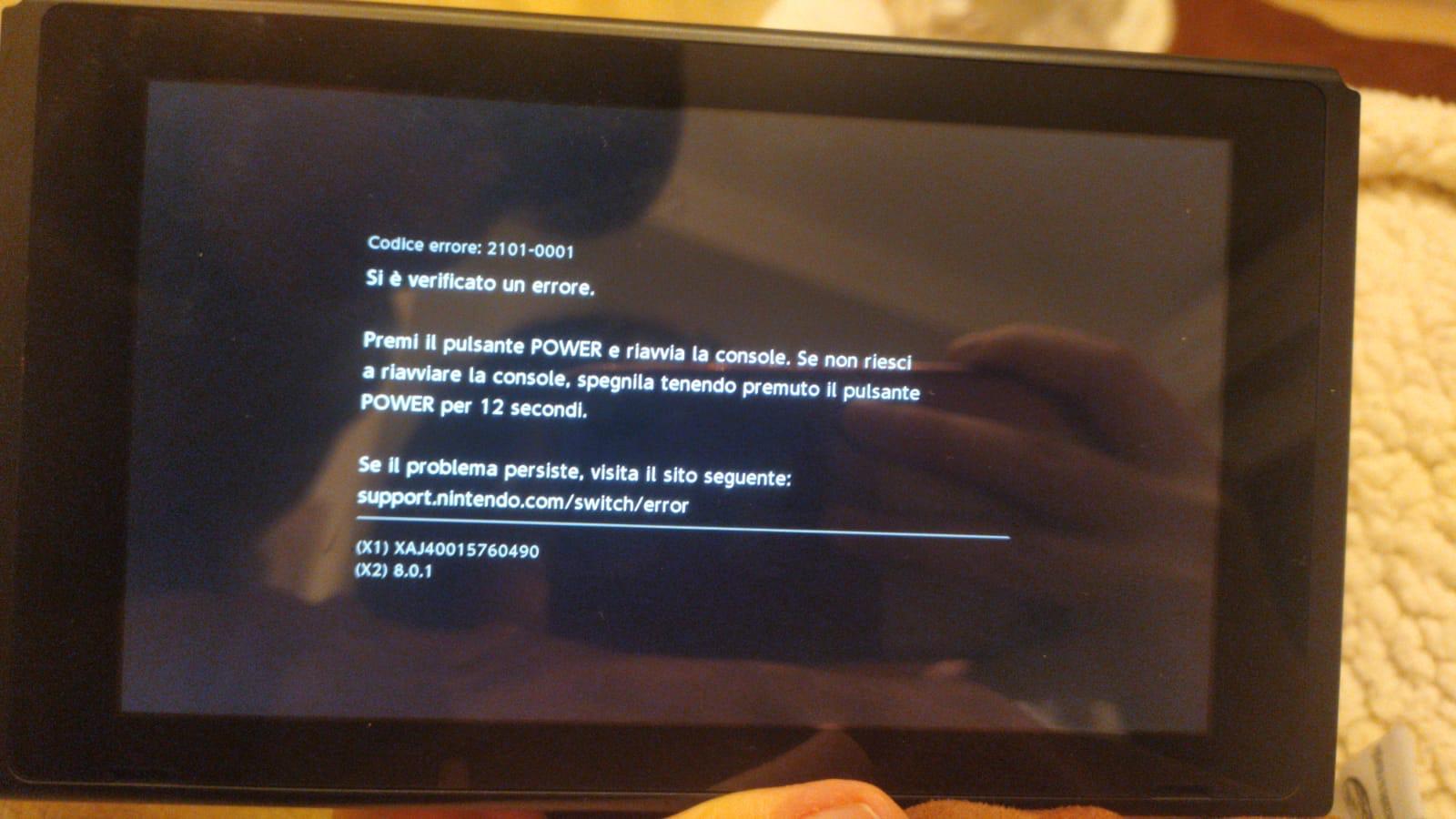 Switch errore 2101-0001