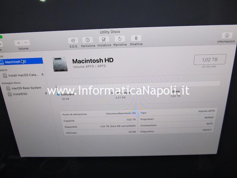 problema installazione catalina macos fusion drive iMac