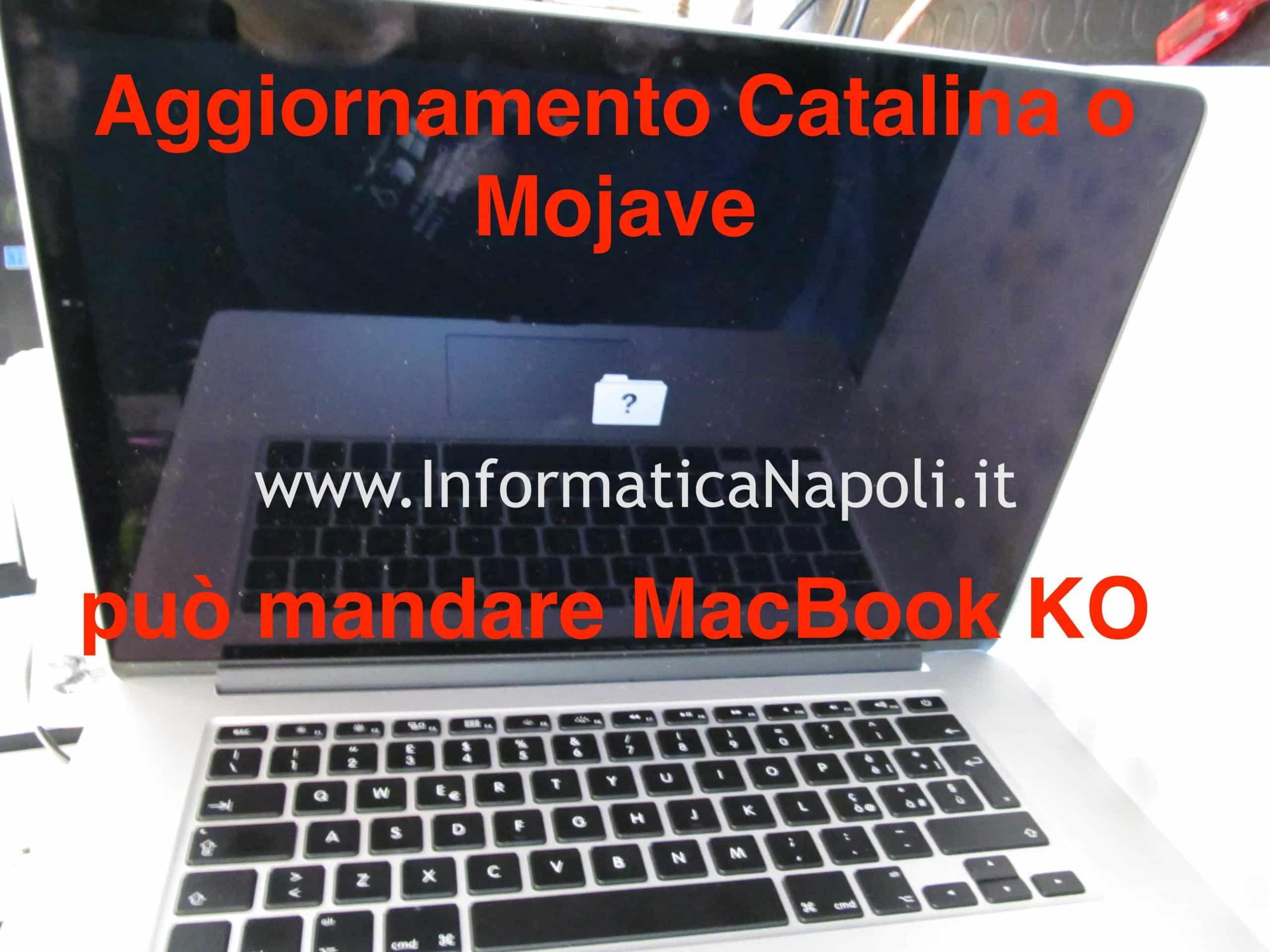 macbook pro 15 A1398 con problemi di aggiornamento mojave catalina funzionante riparato