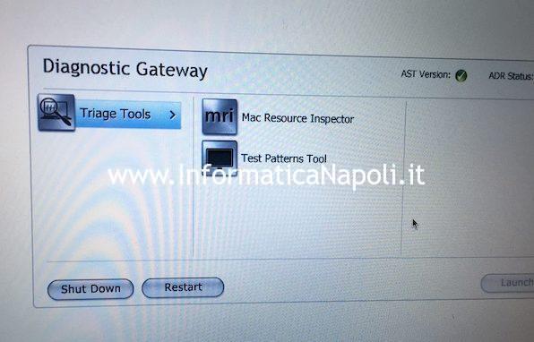 fare test diagnosi AHT1 su Apple Mac MacBook iMac diagnostic gateway Mac resource inspector