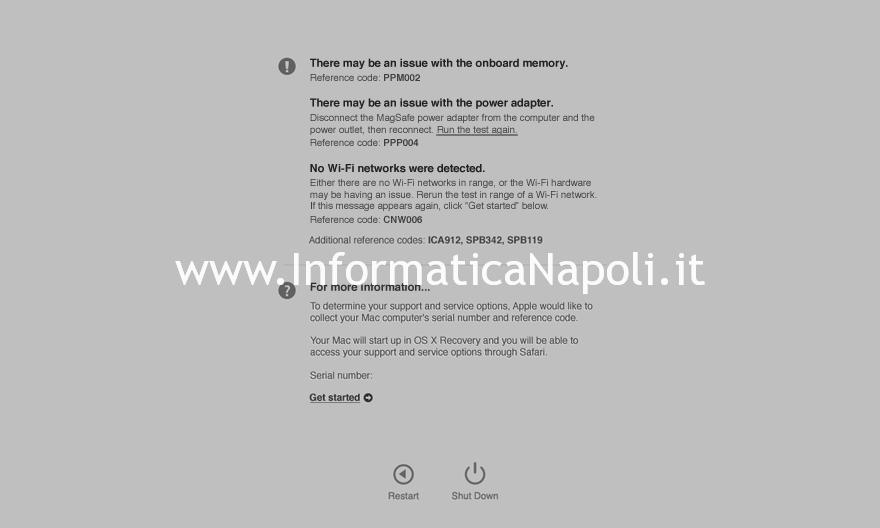 test mac 1 diagnosi Apple su macbook imac mac pro