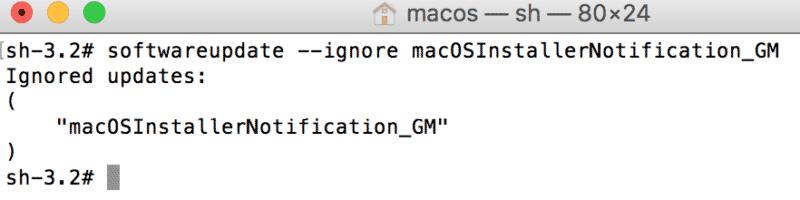come disattivare messaggio Aggiornamento MacOS