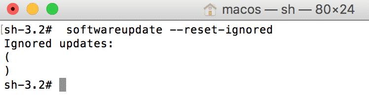 riabilitare messaggio Aggiornamento MacOS
