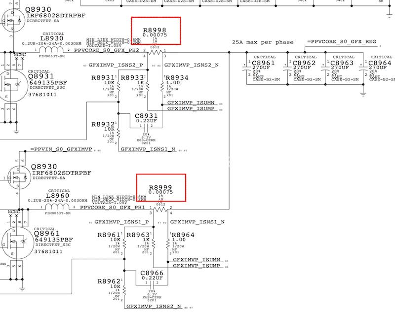 disattivazione resistenze MacBook Pro 15 retina A1398 Late 2012 | Early 2013 nVidia GT650 disattivazione 820-3332-A