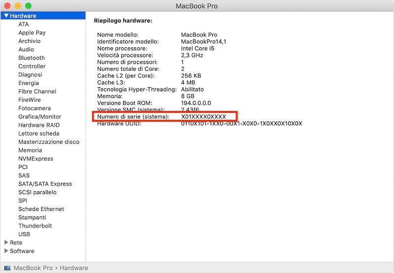 seriale apple su macbook
