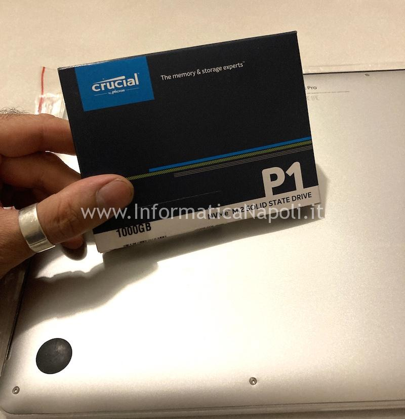 disco Crucial P1 NVMe m.2 da 500GB per Upgrade SSD macbook air 13 a1466 e adattatore