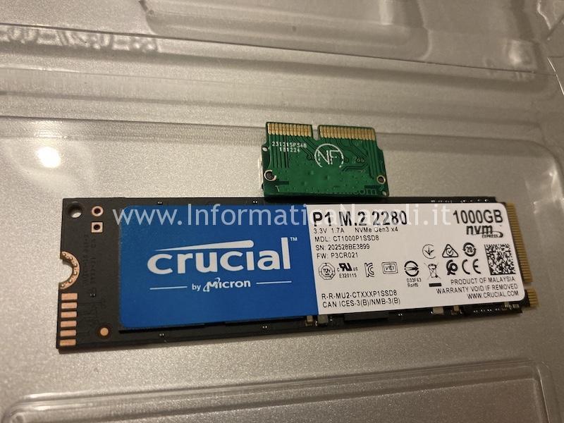 sostituzione upgrade aggiornamento disco Crucial P1 NVMe m.2 2280 da 1TB per Upgrade SSD mac pro 15 A1481 e adattatore | assistenza Apple