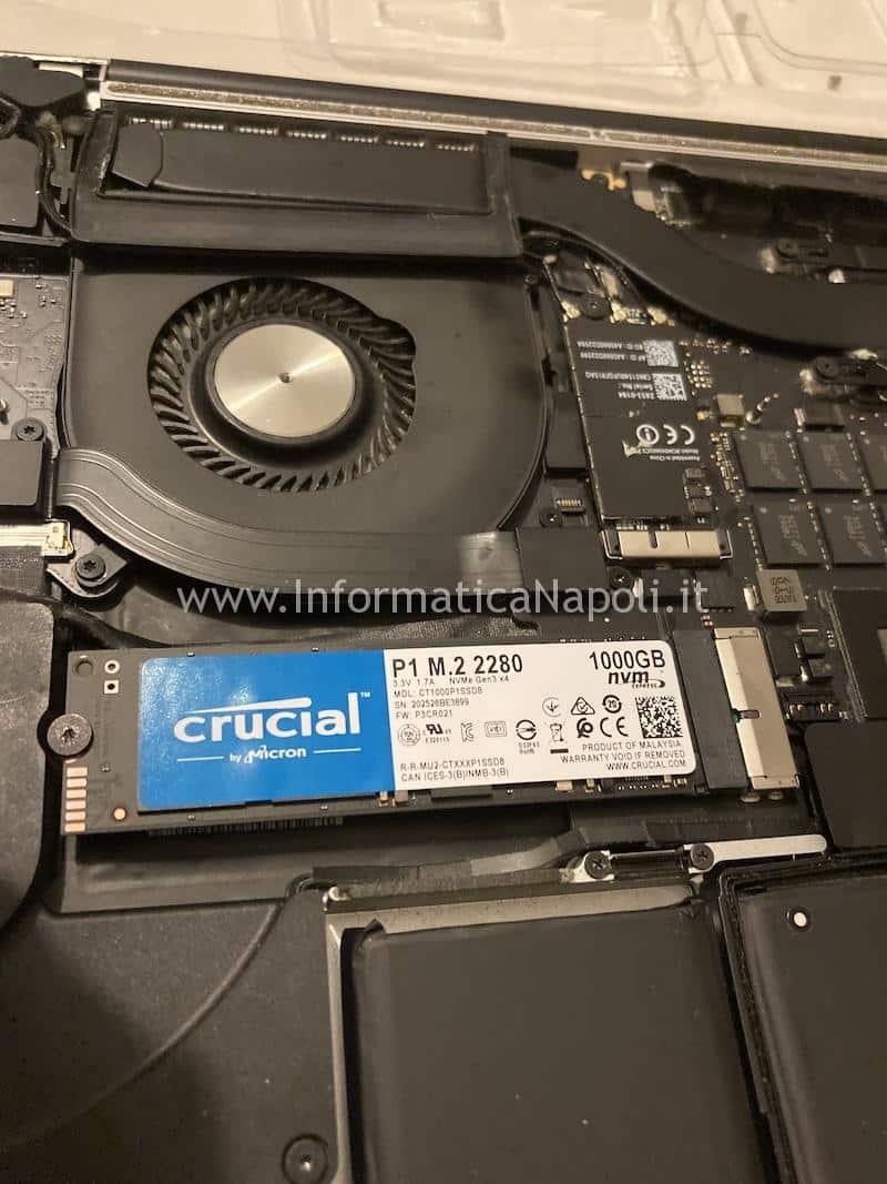 come sostituire e upgradare aggiornamento disco Crucial P1 NVMe m.2 2280 da 1TB per Upgrade SSD macbook pro 15 a1398 e adattatore