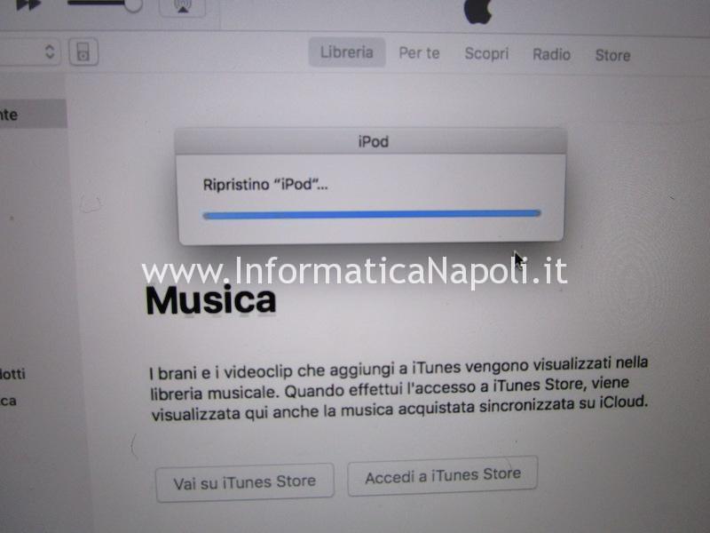 ripristino ipod itunes sostituzione disco