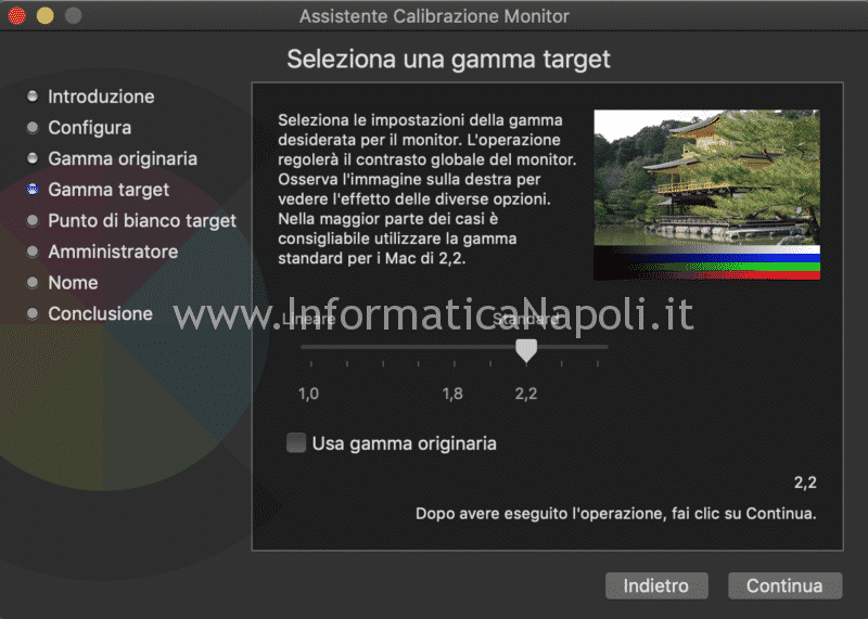 Gamma target calibrazione display mac imac