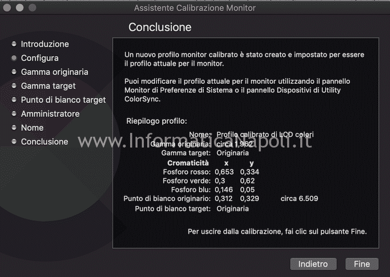 profilo calibrazione display mac imac