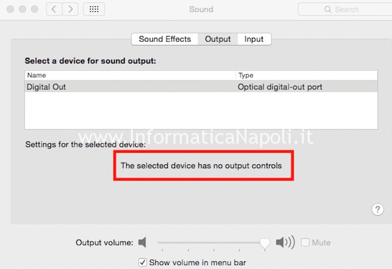 problema volume barra menu disattivata luce rossa presa cuffie no audio macbook pro