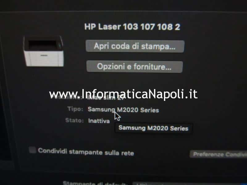 come installare HP LaserJet 107w su computer Apple