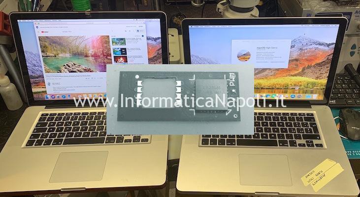 problema righe schermata bianca nera macbook pro 15 17 risolto riparato reballing rework