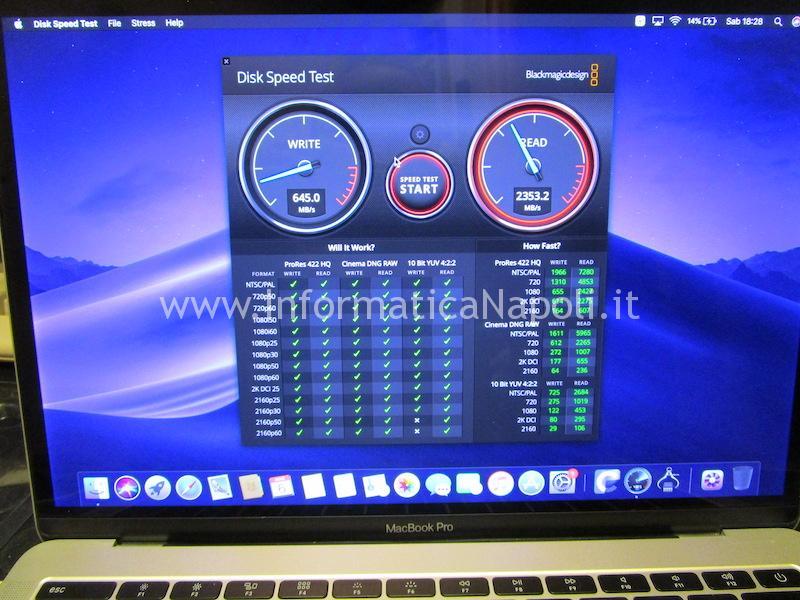 test velocità Upgrade SSD disco MacBook Pro 13 2016|2017 A1708 NVMe m.2 PCIe 512gb 1tb