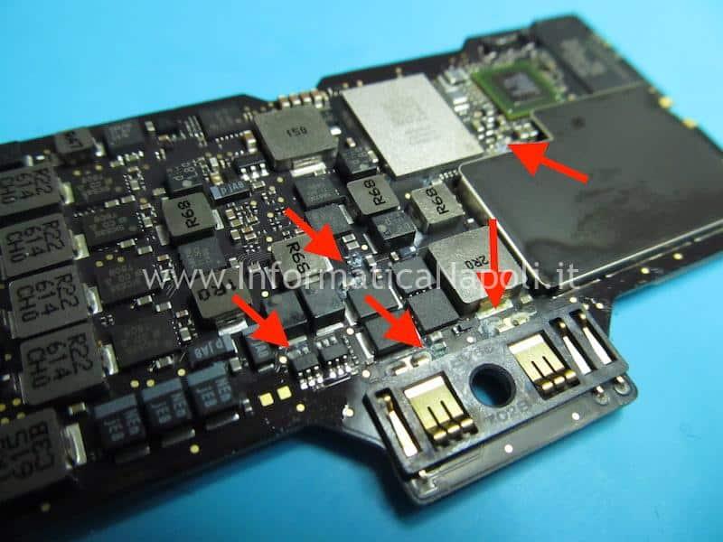come riparare scheda logica 820-00244 macbook 12 danni da liquido acqua