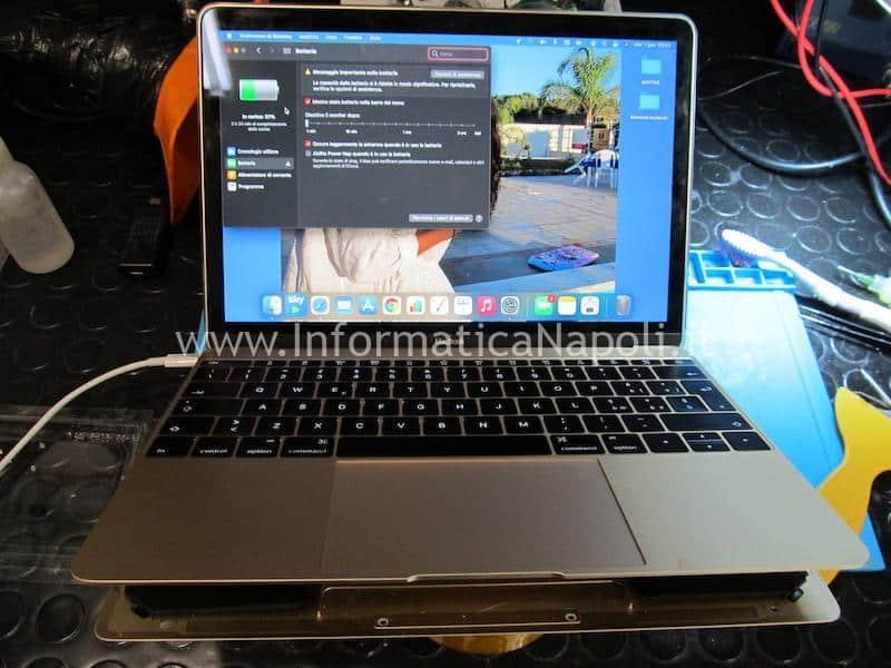 Danni da ossido MacBook 12 A1534 problemi ricarica batteria circuito alimentazione riparata funzionante