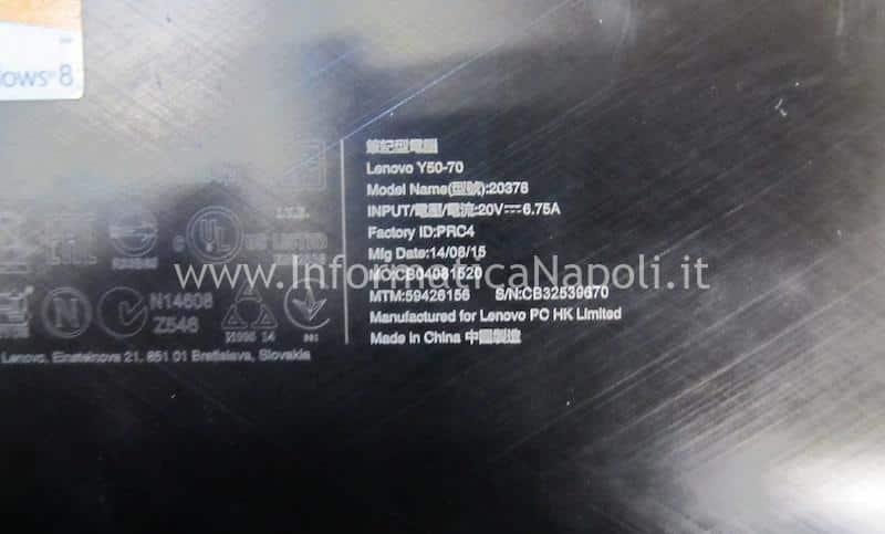 assistenza Lenovo Y50-70 non si accende tastera illuminata LA-B111P ZIVY2 bios ENE