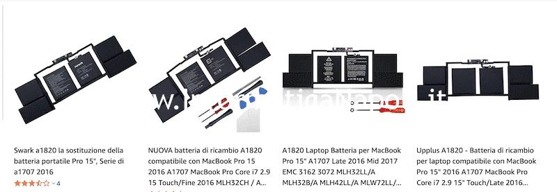 batterie compatibili A1707 2016 2017