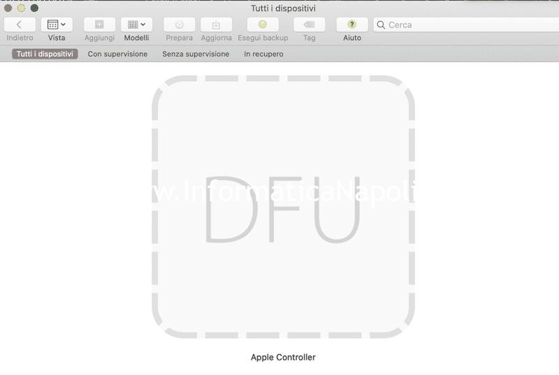 apple configurator 2 DFU ripristino macbook M1