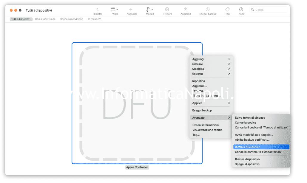riattivazione macbook DFU