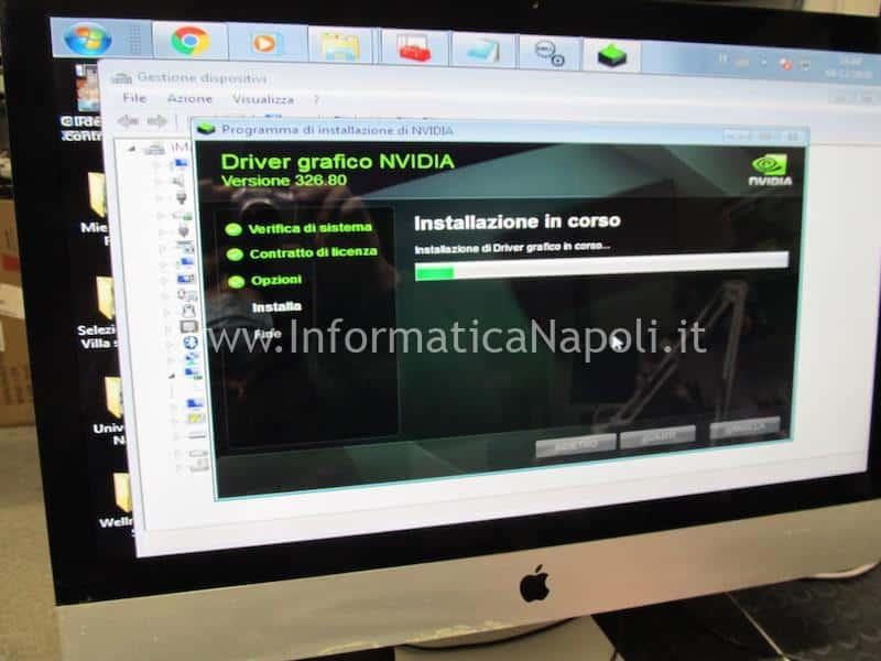 imac funzionante dopo installazione e sostituzione scheda video nuova iMac A1311 21.5 2009 2010 2011 con windows 10