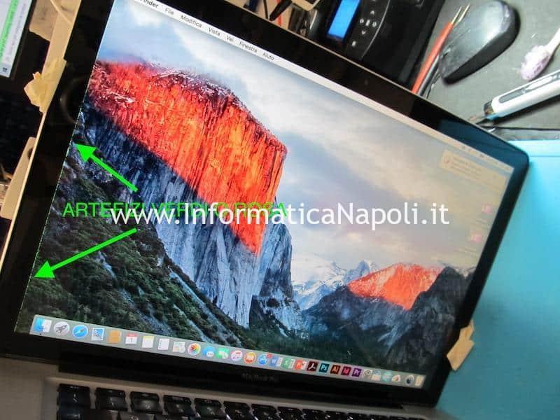 artefizi e righe colorate verdi e rosa su schermo macbook pro 15 17 2008 2009 2010 2011 2012