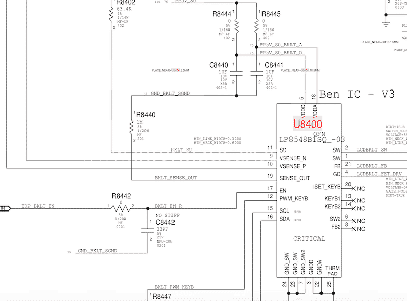 problema backlight macbook 15 2016 2017 touchbar 820-00281 U8400 IC backlight LP8548B1-03 Texas Instruments LP8548B1-03 led driver