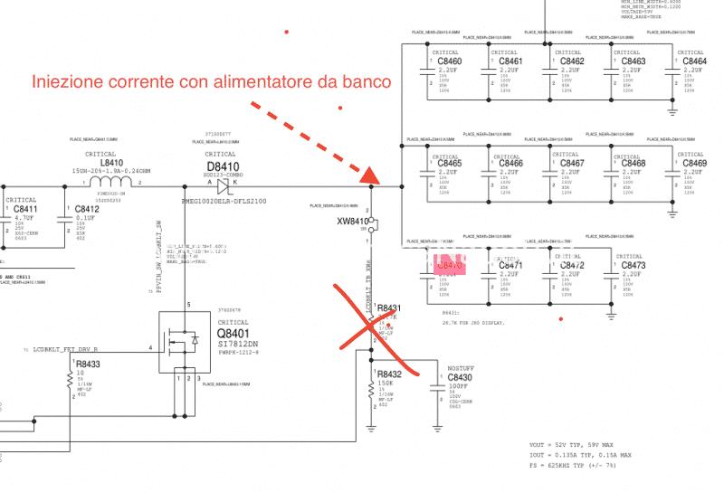 test condensatori in corto problemi di illuminazione backlight macbook 15 2016 2017 touchbar 820-00281 U8400 IC LP8548B1-03 scheda madre zona condensatori assistenza apple
